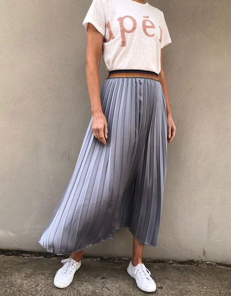 Italian Star Pleated Skirt - Silver