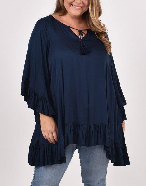 PQ Collection Flyaway Top - Navy