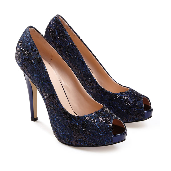 Yummy Navy Lace Sequins