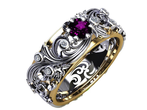Wedding bands with stones, Celtic bands, Leaves bands, Twig bands, Branch bands, Flower bands, Filigree bands and gold