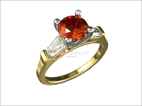 14K Orange Sapphire with Tapered Baguettes Lab Sapphire Engagement Ring, 3 stone ring - Lianne Jewelry