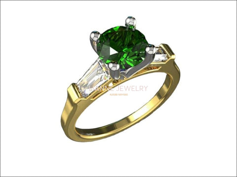 3 Stone Emerald Engagement Ring Tapered Baguettes Moissanite 2 Tone Vintage Lab Emerald Fine deep Green - Lianne Jewelry