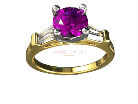 14K Amethyst with Tapered Baguettes Unique Engagement Ring, 3 Stone ring, Purple Ring - Lianne Jewelry