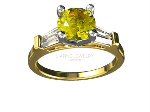 3 Stone Yellow Stone Ring Tapered Baguettes 14K Yellow Gold Yellow Lab Sapphire Engagement Ring - Lianne Jewelry