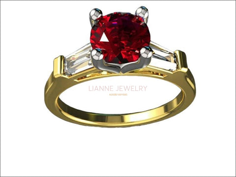 14K Round Ruby with Tapered Baguettes 3 Stone Ring, Unique Engagement Ring, Red Ring, Lab Ruby deep Fine Top Quality Red - Lianne Jewelry