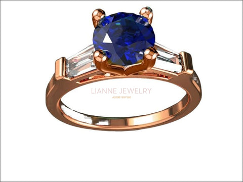 14K Solid Rose Gold 3 Stone Ring Extra Fine Royal Blue Lab Sapphire Flanked with Moissanite Sparkling Tapered Baguettes - Lianne Jewelry