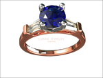 2 Tone 14K Rose gold 3 Stone Ring Lab Sapphire 7mm Round Extra Fine Royal Blue Flanked with Moissanite Tapered Baguettes - Lianne Jewelry