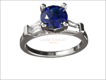 14K Solid White Gold 3 Stone Ring Extra Fine Royal Blue Lab Sapphire Flanked with Moissanite Sparkling Tapered Baguettes - Lianne Jewelry