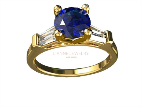 14K Sapphire 3 Stone Engagement Ring Tapered Baguettes Moissanite 2 Tone Vintage Lab Sapphire 7mm Round Extra Fine Royal Blue - Lianne Jewelry