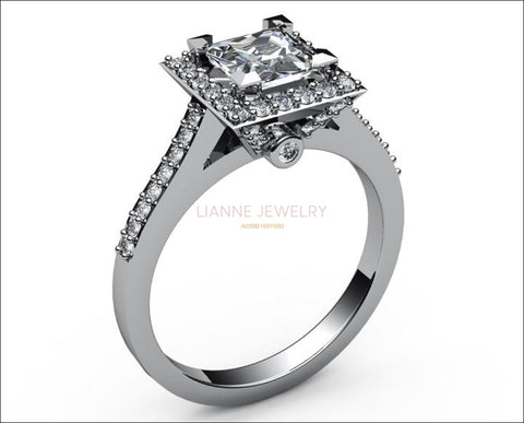 18K Square Ring, Diamond Engagement, White Gold, Gothic Ring - Lianne Jewelry