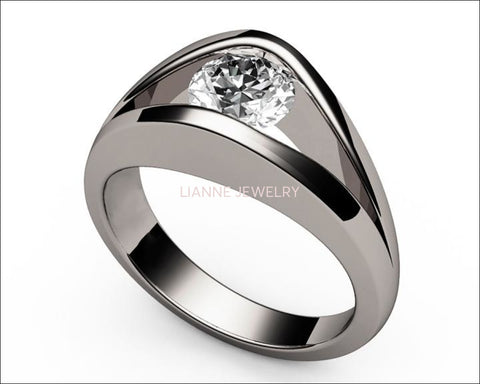 18K Solitaire Diamond Engagement ring, Split shank White Gold Unique Ring - Lianne Jewelry