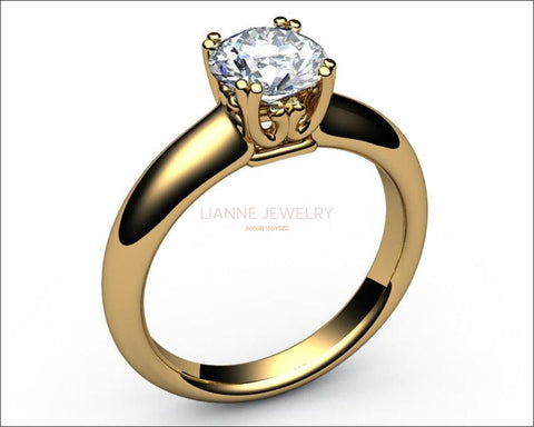 Diamond ring Gold ring Solitaire Ring Unique moissanite engagement ring beautiful Design in 18K gold - Lianne Jewelry