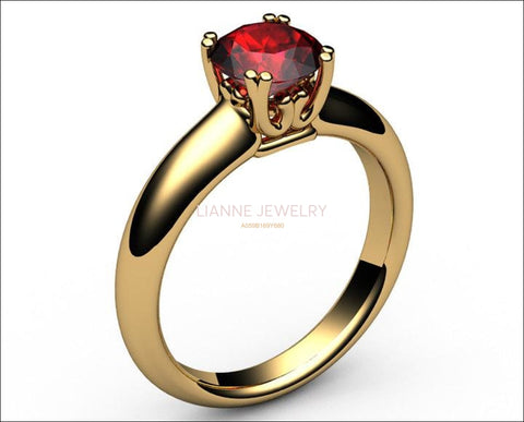 Gold Ring Ruby Ring Engagement Ring Solitaire Ring 18K Yellow gold July Birthstone - Lianne Jewelry