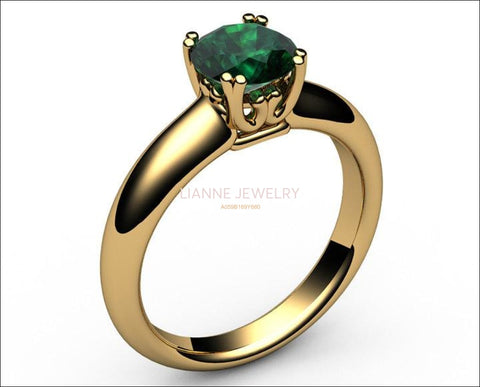 14K Emerald Engagement Ring, Solitaire Ring, Filigree Ring, Double prongs - Lianne Jewelry