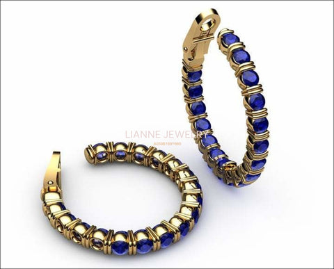 "Gold Earrings Huge Hoop Earrings Blue Sapphire 18K Yellow Gold or 18K White Gold 19.50 Grams 1.1/8"" Inches Anniversary - Lianne Jewelry"