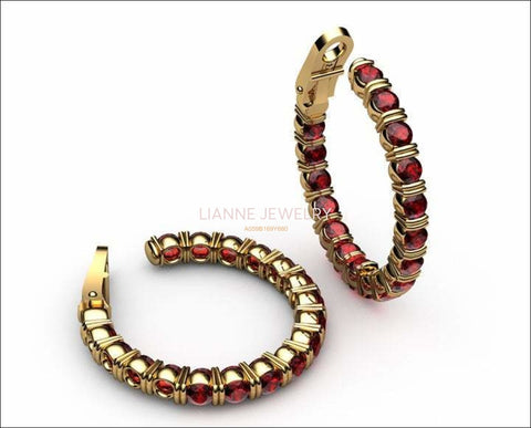 "Gold Earrings Huge Hoop Earrings Ruby 18K Yellow Gold or 18K White Gold 19.50 Grams 1.1/8 "" Inches Anniversary - Lianne Jewelry"