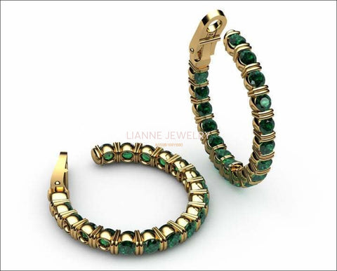 "Gold Earrings Hoop Earrings Emerald 18K Yellow Gold or 18K White Gold 19.50 Grams  1.1/8"" Inches  Anniversary - Lianne Jewelry"