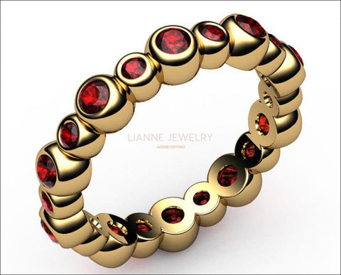 Eternity Ruby Ring, Red Ruby Anniversary Ring, Ruby Anniversary Ring Rose Gold - Lianne Jewelry