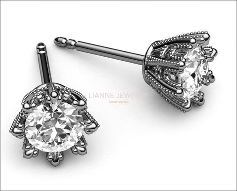 Gold Earrings Stud Earrings 18K White Gold with Moissanite 7 mm Round Brilliant cut - Lianne Jewelry