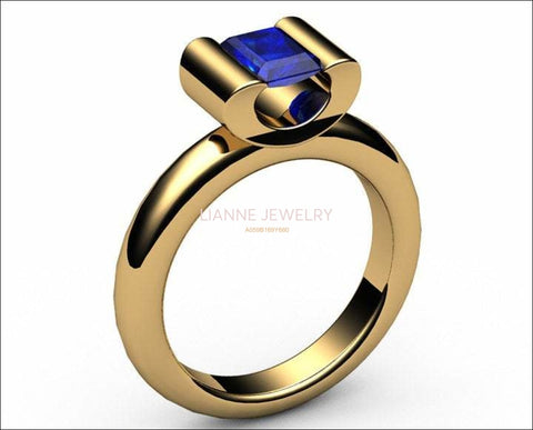 Sapphire Solitaire Ring, Tension ring, Radiant cut Deep Extra Fine deep Royal Blue 18K Yellow gold - Lianne Jewelry