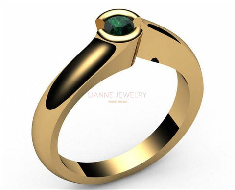 Gold ring Emerald Engagement ring Half bezel tension Solitaire Emerald Ring  carat 18K Yellow gold 18K White gold Jewelry - Lianne Jewelry