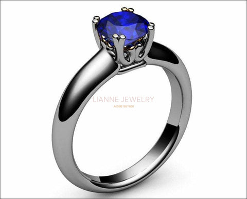 Gold Ring Sapphire Ring Victorian ring Engagement Ring Solitaire Ring 18K White gold September Birthstone - Lianne Jewelry