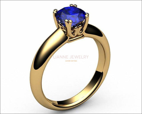 Gold ring Celtic ring Sapphire Ring Engagement Ring Solitaire Ring 18K Yellow gold September Birthstone - Lianne Jewelry