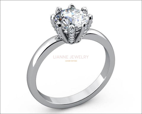 8 prongs Diamond ring Solitaire Engagement Ring Solitaire Ring 18K gold Ring White Gold ring Jewelry - Lianne Jewelry
