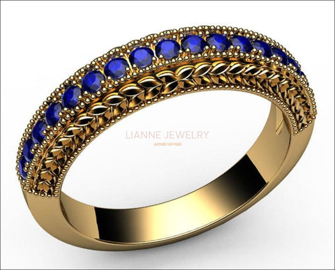 Sapphire Wedding band Half Eternity 17th Anniversary Micro pave 18K White or Yellow gold - Lianne Jewelry