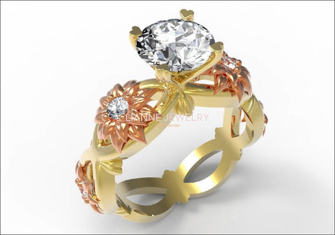Diamond ring  Gold ring moissanite engagement ring Solid 18K Yellow and Rose Gold - Lianne Jewelry