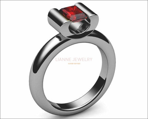 Ruby Engagement ring Radiant cut Deep Extra Fine Pigeons Blood red 18K Yellow gold or 18K White gold - Lianne Jewelry