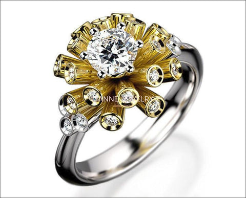 Art Nouveau unique Engagement ring Tube ring Diamond ring Flower ring Floral ring 18K Yellow & White gold Engagement gift 16 standing tubes - Lianne Jewelry