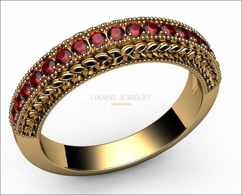Ruby Wedding Band Milgrain Vintage Ring 17 Rubies 18K White gold or 18K Yellow gold 17th Anniversary Ring - Lianne Jewelry