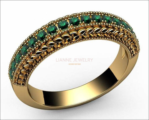 Emerald Milgrain Wedding Band Gree  Wedding Ring 17 Emeralds  0.38 carat 18K White gold or 18K Yellow gold 17th Anniversary gift - Lianne Jewelry