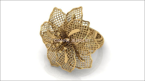 Big Flower Filigree Ring Leaves Floral ring Huge Flower 18K gold Engagement Ring - Lianne Jewelry