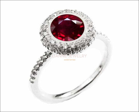 Ruby ring Halo Diamond Ring with 1.03 ct. Extra Fine Ruby surrounded with 56 Diamonds D-E-F VVS - Lianne Jewelry
