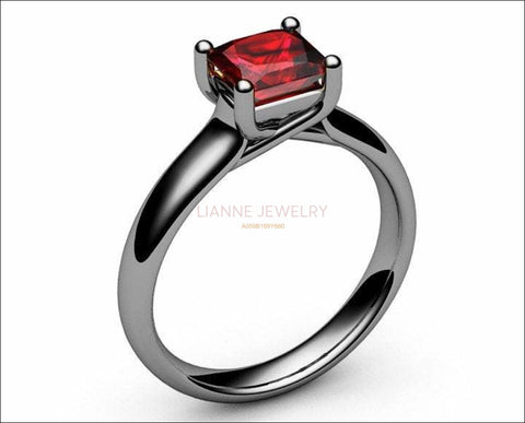 18K Ruby Solitaire Ring, White gold Ruby Ring, Unique Ruby Engagement Ring, Promise ring for Her - Lianne Jewelry
