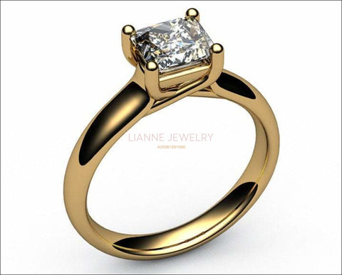 Gold Solitaire Engagement Ring Swirl Trellis Diamond ring Gold ring Solitaire ring Trellis 18K White Yellow Rose gold Jewelry - Lianne Jewelry