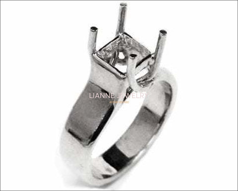 Gold ring Solitaire ring setting Engagement Ring Solitaire Ring in Solid 18K White Gold for Princess cut Radiant cut or Asscher cut stone - Lianne Jewelry