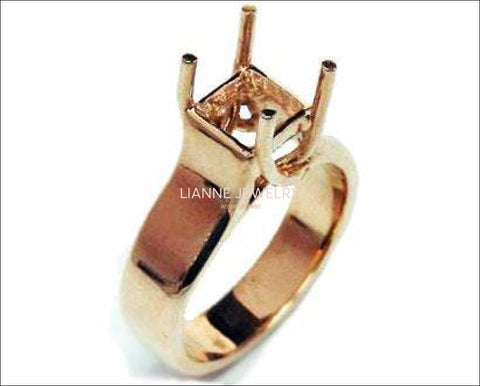 Gold ring Solitaire ring setting Engagement Ring Solitaire Ring in Solid 18K Rose Gold for Princess cut Radiant cut or Asscher cut stone - Lianne Jewelry
