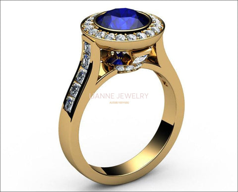 Sapphire Engagement Ring Cathedral channel frame Pavé halo ring 18K Yellow gold Jewelry marriage anniversary ring - Lianne Jewelry