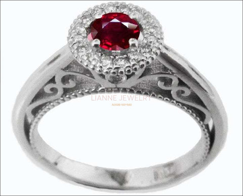 Ruby Filigree Halo Ring, Ruby Engagement Ring, 18K White Gold Ruby Diamond Ring - Lianne Jewelry