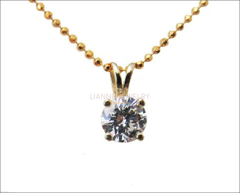 Pendant Diamond Pendant Solitaire Pendant 5mm 1/2 carat 14K Yellow gold chain included  Minimalist pendant - Lianne Jewelry