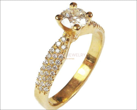 Vintage Gold ring Unique Diamond Engagement Ring Pave Yellow Gold 3 Row - Lianne Jewelry