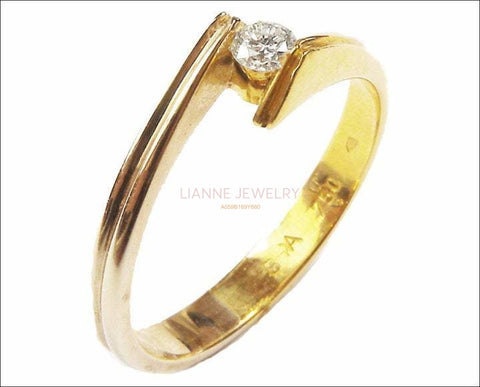 Gold ring White Sapphire Engagement Ring tension Swing Design 18K Yellow Gold - Lianne Jewelry