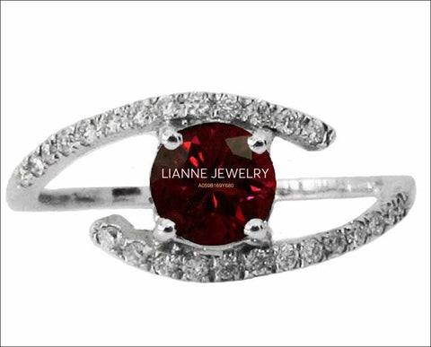 Gold ring Ruby and Diamond Engagement Ring Twist Ring 14K White Gold - Lianne Jewelry