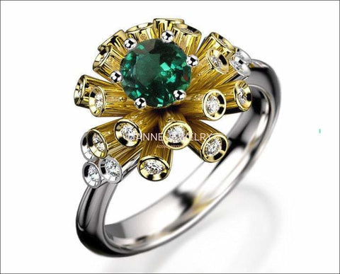 Tube Emerald and Diamond Unique Engagement ring 18K Yellow & White gold Engagement gift 16 standing tubes - Lianne Jewelry
