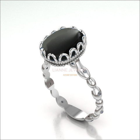 Bella Onyx Filigree Engagement Ring, 18K White Gold Black Onyx Ring - Lianne Jewelry