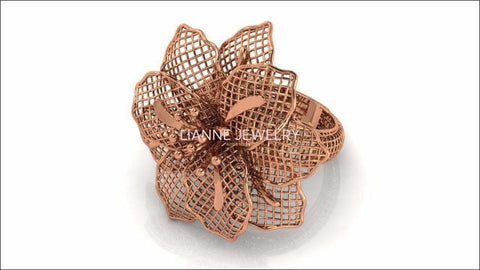 Big Rose Gold Flower Leaves Ring Floral ring Filigree Ring Huge Flower 18K gold Engagement Ring - Lianne Jewelry