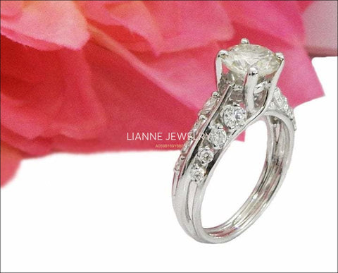 Moissanite Ring Engagement Ring Stackable Ring Diamond ring moissanite unique ring with F VVS diamonds on the sides made in 18K White Gold - Lianne Jewelry